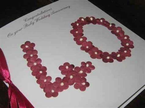 Handmade Ruby Anniversary Cards - personalised 40th ruby handmade wedding anniversary cards