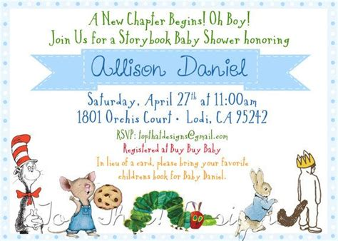 Childrens Book Themed Baby Shower Invitation Collection Featured On Hwtm Blog 12 00 Via Etsy Book Invitations Template