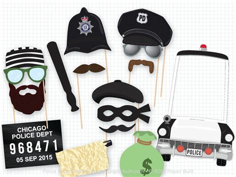 printable police photo booth props police party prop photo booth props photobooth props