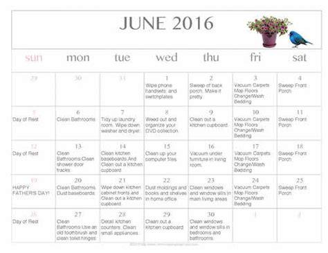 Cleaning Calendar Free Editable Printable June 2016 Cleaning Calendar