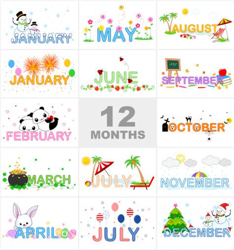 kindergarten themes by month months of the year printable visual aid clip art fun
