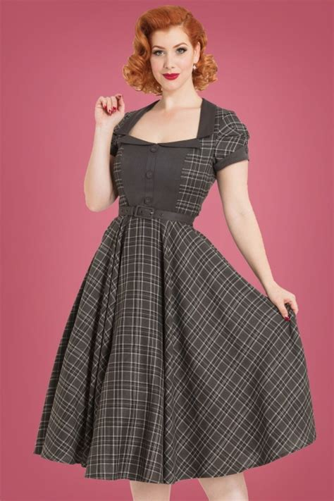 swing dress tartan 40s ella tartan swing dress in grey