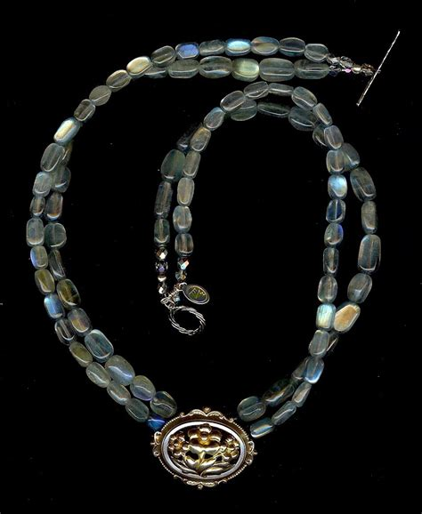 mezel vintage brooch labradorite necklace from