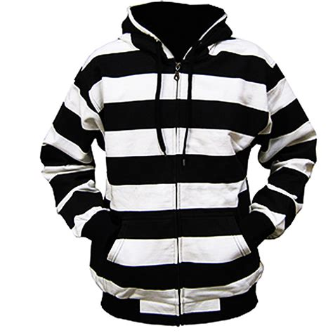 Striped Hoodie black hoodie with white strings and zipper hardon clothes