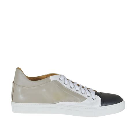 Shoes Casual Shoes White s laced casual shoe in beige white and black leather