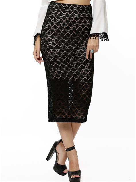 buy koovs lace fitted midi skirt for s black