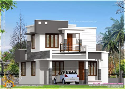 flat home design small flat roof double stories house kerala home design