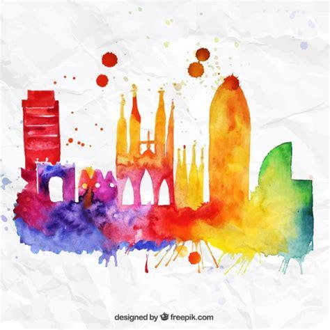 barcelona psd colorful barcelona skyline vector free download