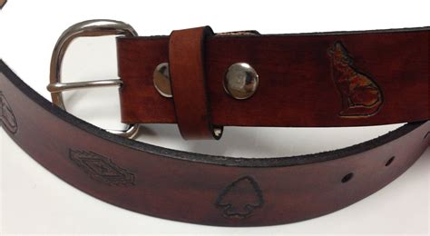 handmade mens leather belt 1 5 quot wide indian sted design