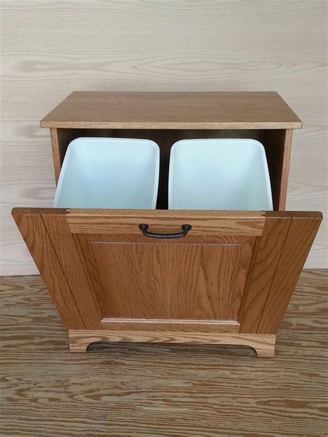 double trash recycling bin wood wooden tilt trash bin plans woodworking projects plans