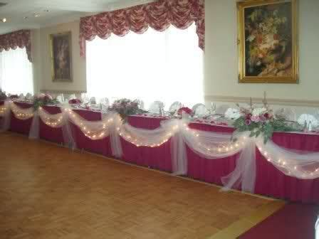 Bridal party table idea..love the draped tulle