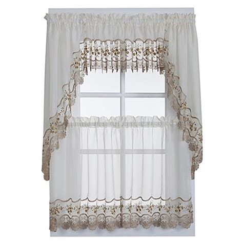 sheer swag curtains valances buy vintage sheer window curtain swag valance pair in ecru