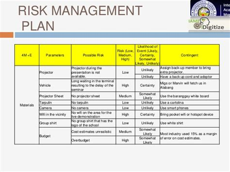 event risk management template computer literacy seminar a project management