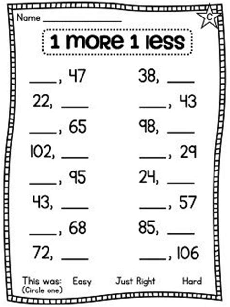 One More One Less Worksheets by Assessment And Grade Math On