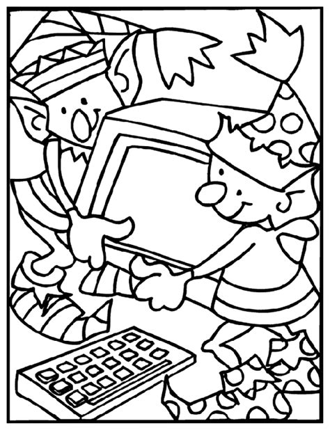 christmas elves working coloring page crayola com