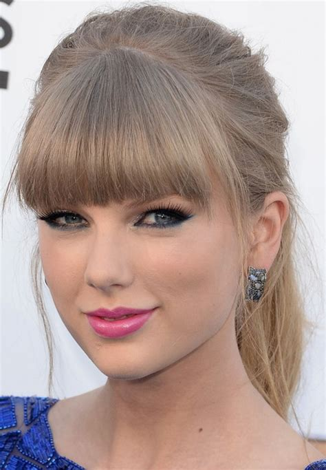 hair in pony tail with bangs ponytail hairstyles with blunt bangs taylor swift hair