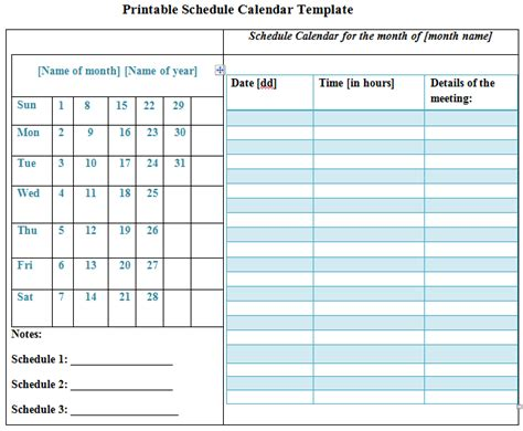 free scheduling calendar template printable schedule calendar template sleprintable