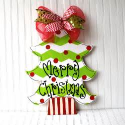 christmas tree door hanger chevron christmas by looleighscharm