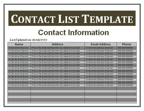 business contact list template 14 free contact list templates free business templates