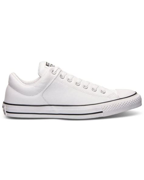 Sepatu Converse Black White Sneakers Casual converse s chuck high leather casual sneakers from finish line in white for
