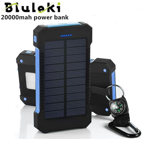 Power Bank Solar Charge bluruki solar power bank dual usb power bank 20000mah external battery portable charger bateria