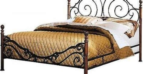 wood and wrought iron bedroom sets wrought iron cherry wood painted finish queen bed