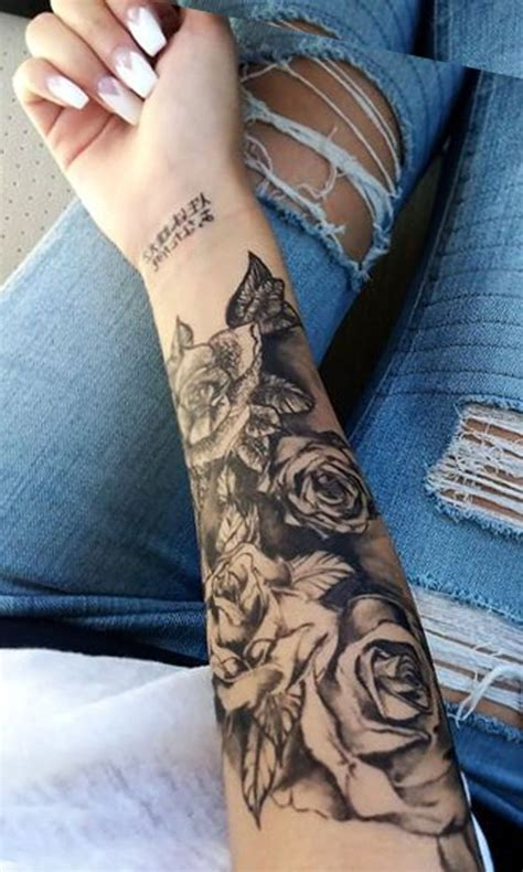 girl rose tattoo black forearm ideas for realistic