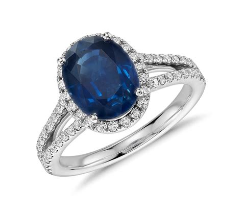 oval sapphire and split shank ring in 18k white