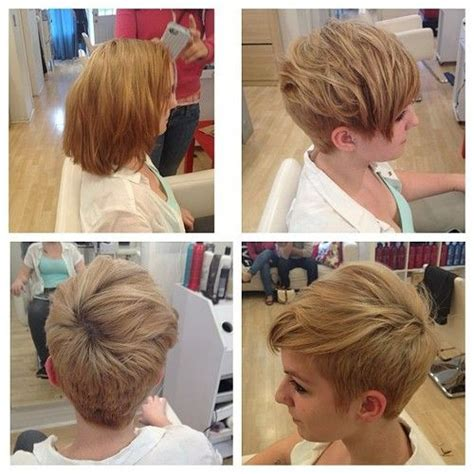 great lengths before and after pixie cut to mid length such a great change from middle length to short hair i