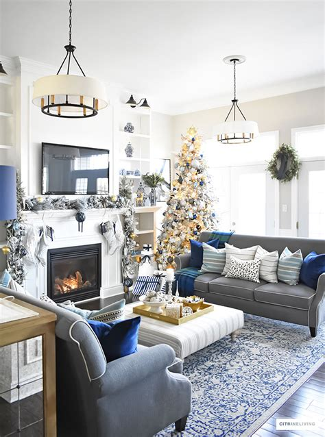 blue and silver living room home tour living room with blue white and gold