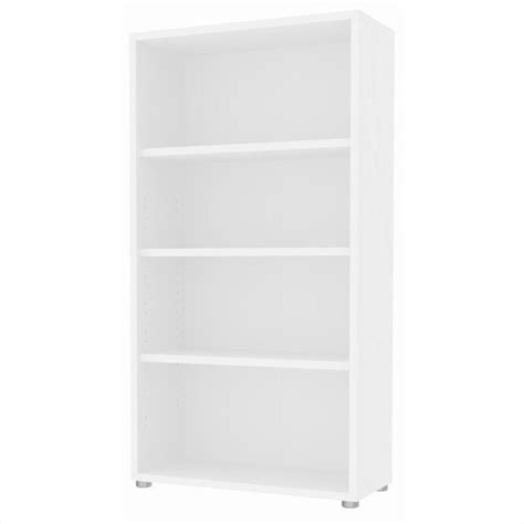 Tvilum Structure 4 Shelf Wide Bookcase In White Wood Wide White Bookcase