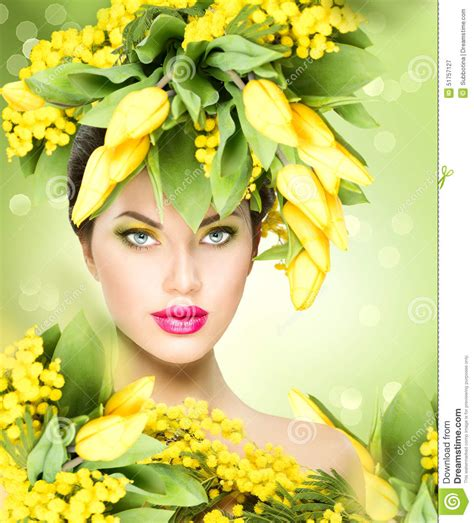 easter time avarde look hairstles spring model girl with flowers hairstyle stock photo