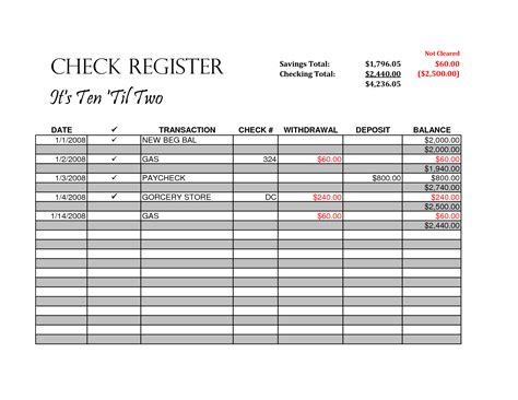 7 best images of blank check register template printable