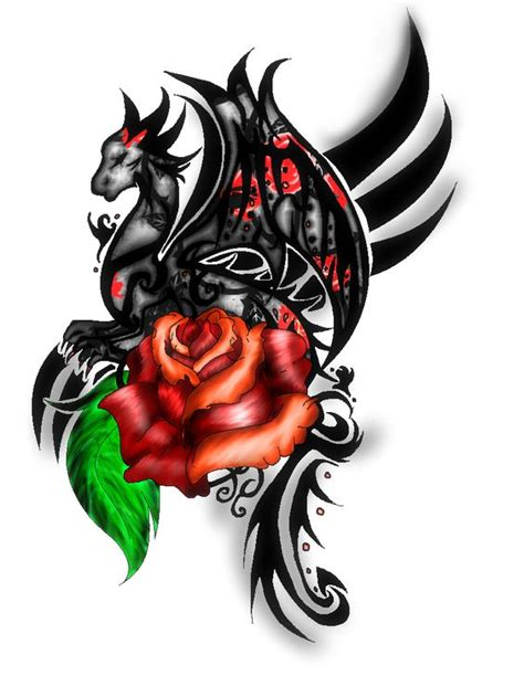rose and dragon tattoos tribal with coloured by