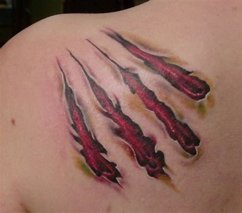 open wound tattoo designs claw marks on the ribs animal
