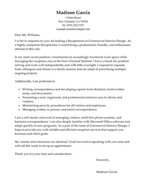 Cover Letter Exle Receptionist by Best Receptionist Cover Letter Exles Livecareer