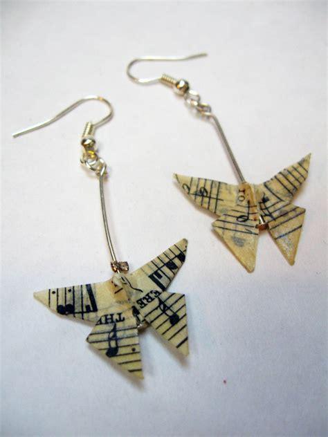 Origami Earring - origami butterfly hanging earrings sheet felt
