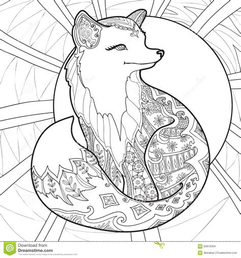 coloring page detailed coloring page with fox stock vector image 62812594