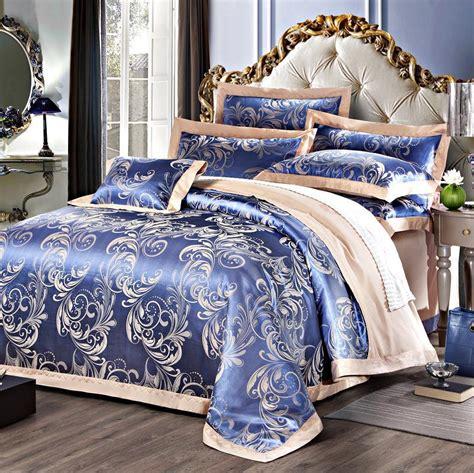 Yarn Dyed Cotton Jacquard Luxury Bedding Set Blue In Blue Bedding Sets Luxury