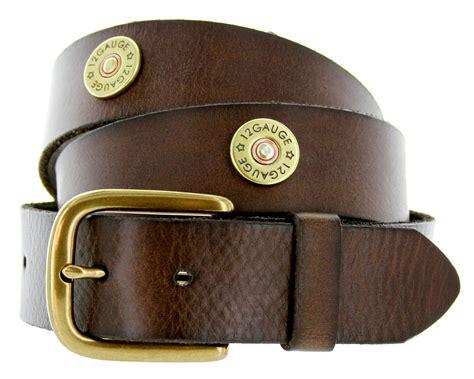 12 shotgun shell grain leather belt brown