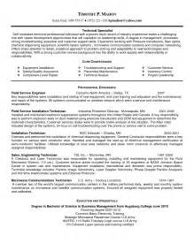 field technician resume installation and repair