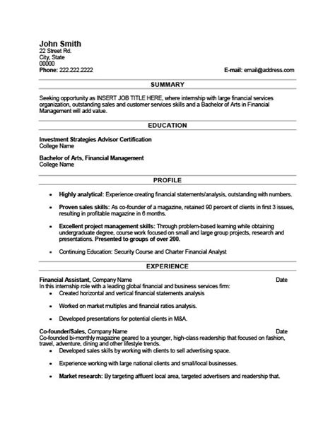 Financial Aid Assistant Sle Resume by Financial Assistant Resume Template Premium Resume Sles Exle