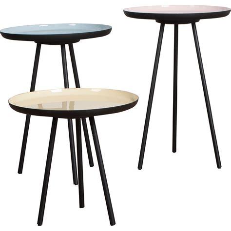 Side Coffee Table Set Set Of 3 Side Tables In Enamel Finish Side Coffee Tables Cuckool
