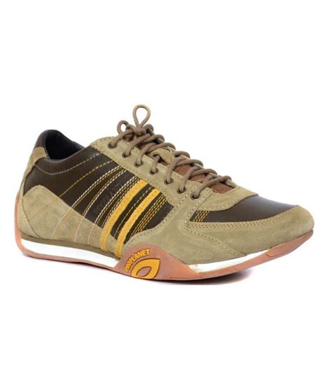 woodland green leather casual shoes for