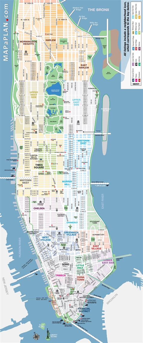 map of new york city manhattan manhattan streets and avenues must see places new york top