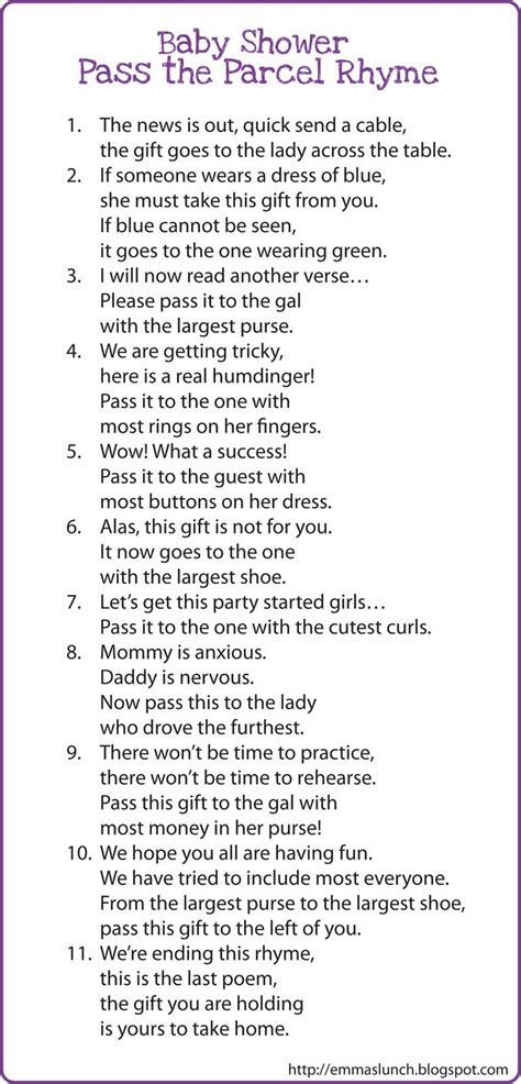 Baby Shower Pass The Parcel Questions by Interesting Baby Shower Pass The Parcel Rhyme Fight For Your Right To Parrttyy