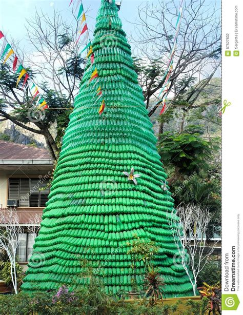 ecological christmas trees tree made of empty bottles disposal of garbage stock photo image 57527832