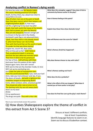romeo and juliet themes worksheet answers hmbenglishresources1984 s shop teaching resources tes
