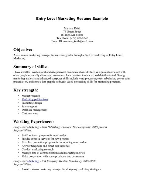 entry level marketing resume sles entry level