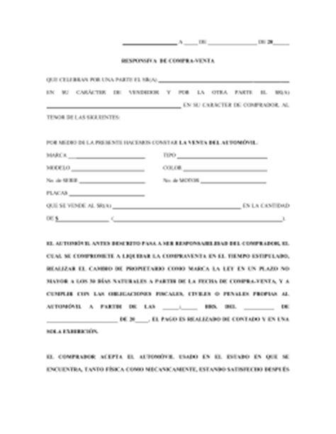 FORMATO DE CARTA RESPONSIVA DE COMPRAVENTA DE VEHICULOS